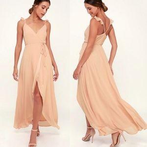 Lulu's Here's to Us blush pink wrap maxi dress